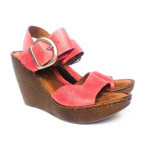 BORN Red Leather Silver Buckle Wedge Sandal 7